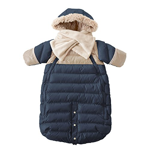 7AM Enfant Doudoune One Piece Infant Snowsuit Bunting, Midnight Blue/Beige, Large by 7AM Enfant