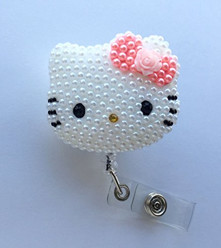 AYREELS 3D Hello Kitty Bling Retractable ID Holder_ pink Pearl Bow W/ Flower
