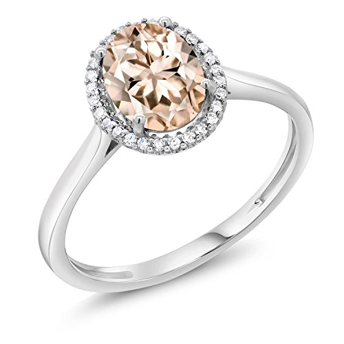 Gem Stone King 1.00 Ct Oval Peach Morganite with Diamond Accent 10K White Gold Ring (Size 5)