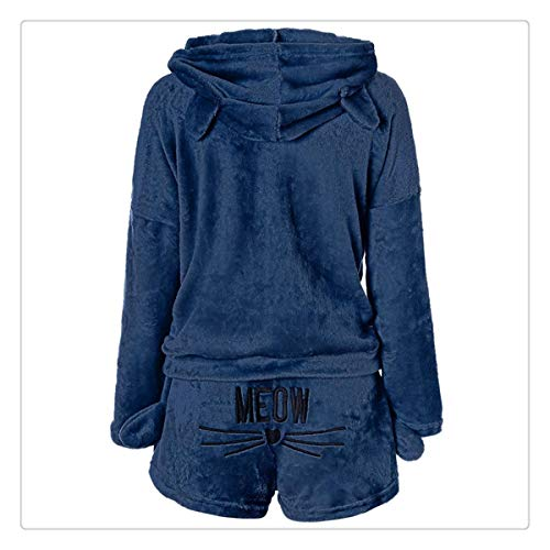 Autumn Winter Pajama Sets Women Coral Velvet Suit Warm Cartoon Homewear Animal Sleepwear Meow Pattern Hoodies Shorts Blue M (Inn Patio)