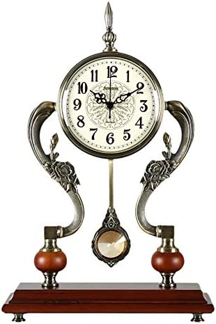 Zjyfyfyf Mantel Clocks Metal Mantel Clock with Pendulum Decorative Chiming Fireplace Clock is Battery Operated Color Metallic