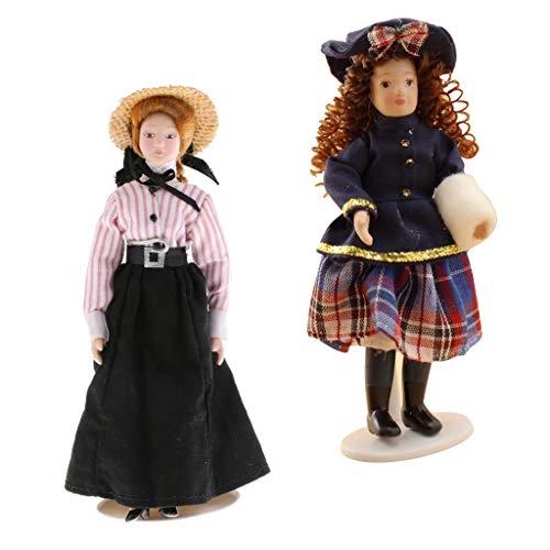 Fityle 2pcs 1:12 Scale DollHouse People Porcelain Lady & Girl Doll Figurine Miniatures Accs