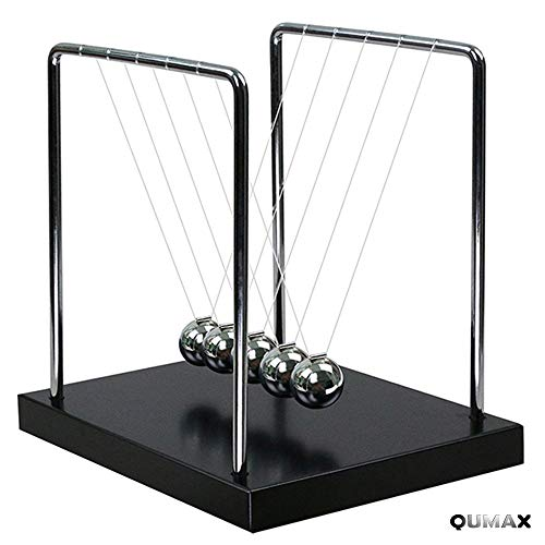 QUMAX Newton's Cradle Balance Balls Science Pendulum Desk Toy Physics Gadget with Authentic Wooden -
