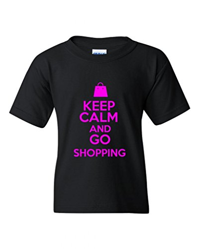 Keep Calm And Go Shopping Mall Statement Novelty Youth Kids T-Shirt Tee (Medium, Black - Mall Stores Plaza