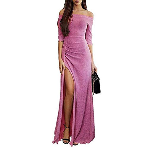 Women Off Shoulder Maxi Long Evening Dresses High Split Cocktail Wrap Dresses