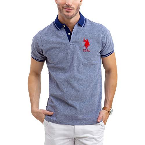 (U.S. Polo Assn. Mens Solid Birdseye Pique Polo Shirt with Big Pony - Marina Blue, Large )