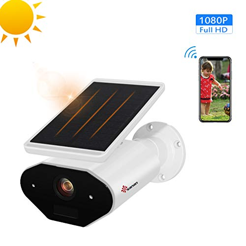 Solar Wireless Security Camera Compatible with Alexa, Sanan 1080P Waterproof IP65 Camera with Night Vision Two-Way Audio PIR Cloud & Max 32G TF Card for iOS/Android