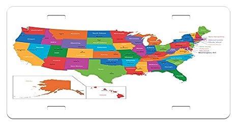 Amazon.com: Ambesonne Wanderlust License Plate, Colorful USA ...