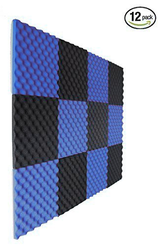 12 Pack Charcoal/Blue Slim Convoluted Egg crate Acoustic Foam Padding - Enhance Sound Quality by Absorbing Noise and Echoes
