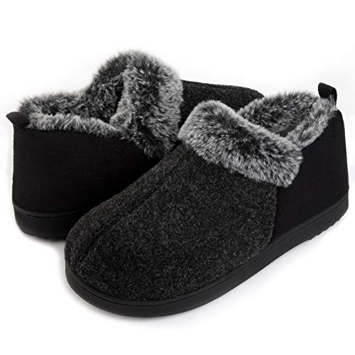ULTRAIDEAS Women's Cozy Memory Foam Slippers with Warm Plush Faux Fur Lining, Wool-Like Blend Micro Suede House Shoes with Anti-Slip Indoor Outdoor Rubber Sole
