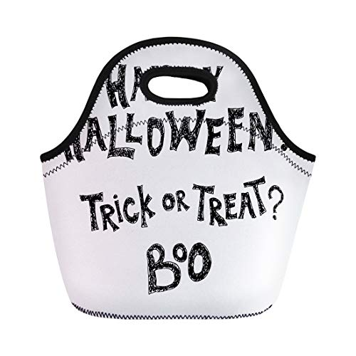 Semtomn Lunch Tote Bag Halloween Phrase Hand Happy Trick Treat and Boo Lettering Reusable Neoprene Insulated Thermal Outdoor Picnic Lunchbox for Men Women -