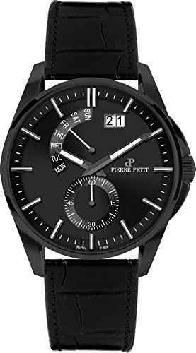 Pierre Petit Men's P-793C Le Mans Black IP Stainless Steel Luminous Anti Allergic Genuine Leather Big Date Watch