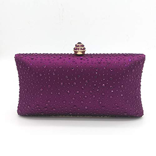 Bag Bag Purple for Parties Fleur Bag Wedding Women Lady's Rhinstone Glitter Evening Handbag Banquet Black BESTWALED Lady Shoulder Clubs WqHR1g84