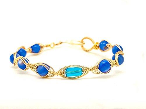 Wrapped Crystal Bracelet (Blue Crystal White Wire Wrapped Bracelet)