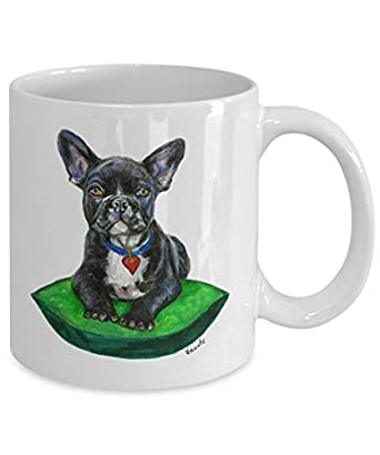 Black French Bulldog on Cushion Mug - Style No.9 - GREEN - Cute Ceramic Frenchie Coffee Cup (11oz)
