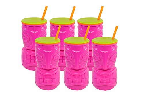 Cool Gear 16oz Tiki Tumbler - Pink (6 pack) - Double Wall...