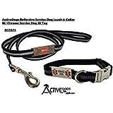 "Activedogs Reflective Service Dog 5' Leash & Collar W/Chrome Service Dog ID Tag (5' Leash W/ 14"" - 20"" Collar)"