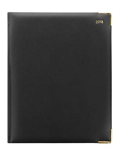 Letts of London For 2018 32YI-2018 Classic Desk Week to View Diary Quarto Black Cover Gilded Pages International Edition