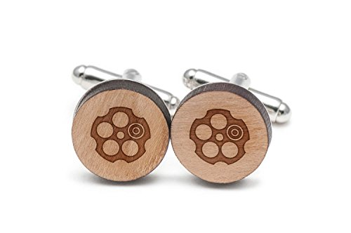 Wooden Accessories Company Russian Roulette Cufflinks, Wood Cufflinks Hand Made in The USA ()