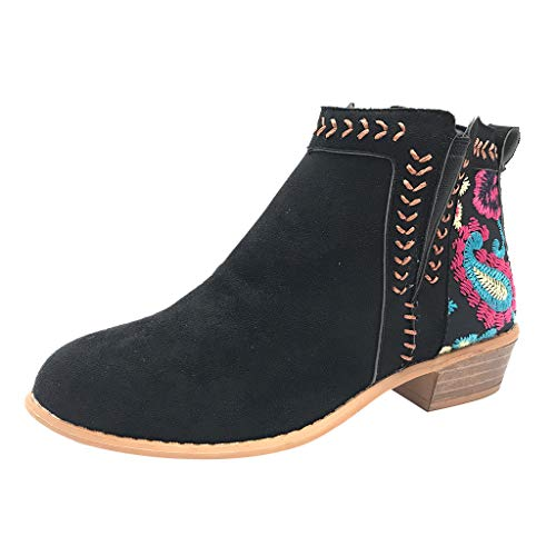Leather Ankle Boots Respctful✿ Women Chunky Slip on Fashion Boots Bohemian Floral Splicing Block Heel Walking Boots