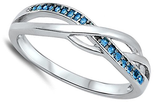 Infinity Knot Blue Simulated Topaz Celtic Ring New .925 Sterling Silver Band Size 10 (RNG17063-10)