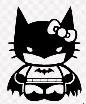 Hello Kitty Batman Batgirl Decal Vinyl Sticker|Cars Trucks Vans Walls Laptop| BLACK |5.5 in|CCI425