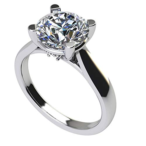 NANA Silver 7.50mm (1.50ct) Round Cut Zirconia Lucita Solitaire Ring-Platinum Plated-Size 6.5