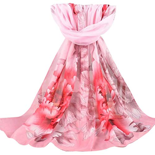 426JingYu Scarfs for Women Lightweight Print Floral Pattern Scarf Shawl Fashion Scarves Sunscreen Shawls Watermelon Red