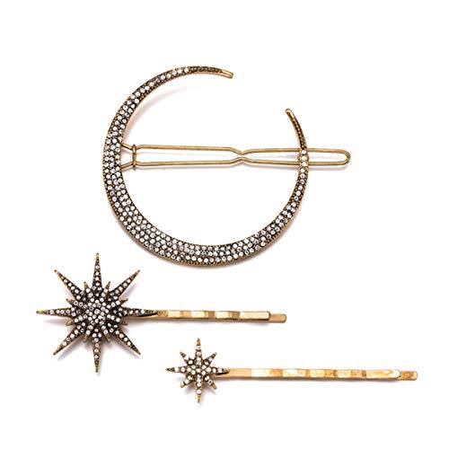 Vintage Pins Rhinestone - Numblartd Vintage Rhinestone Moon Snowflake Star Hair Clip Bobby Pins - Women Lady Girls Alloy Barrettes Hairpin Side Clip Hair Accessories