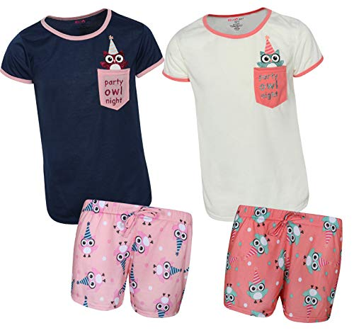 - dELiA*s Girls 4-Piece Pajama Short Set with Fun Prints and Animal Pocket (2 Full Sets), Owl, Size 5/6'