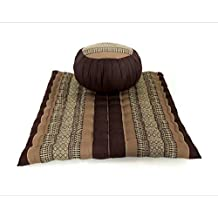 Design by UnseenThailand Meditation Set: Zafu Cushion, Zabuton Mat, Kapok Fabric, 30x28x10 inches. (Brown - Cream)