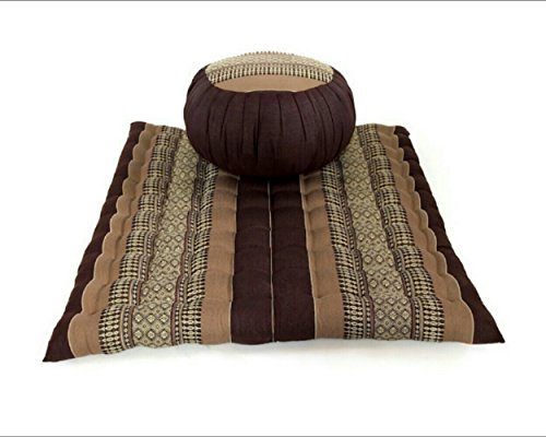 Meditation Set: Zafu Cushion, Zabuton Mat, Kapok Fabric, 30x28x10 inches. (Brown - Cream) by UnseenThailand Warehouse