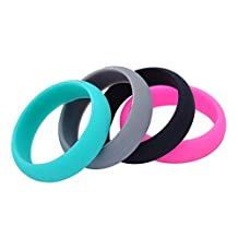 4PCS/Pack Women Silicone Ring Engagement Wedding Bands 5.5mm Wide Size 5 to 9