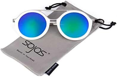 SojoS Vision Fashion Stylish Flash Mirrored Lens Round Sunglasses SJ2020