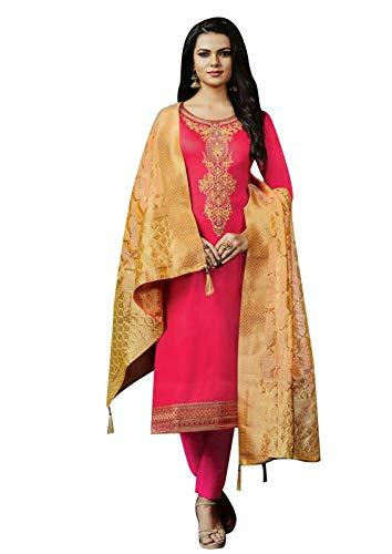 ladyline Readymade Silk Handworked Salwar Kameez with Banarasi Silk Dupatta (Size_40/ Pink)