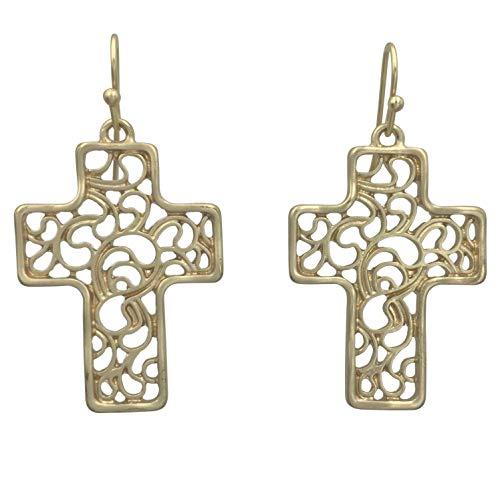Simple Open Filigree Swirl Christian Cross Boutique Style Dangle Earrings (Matte Gold Tone)