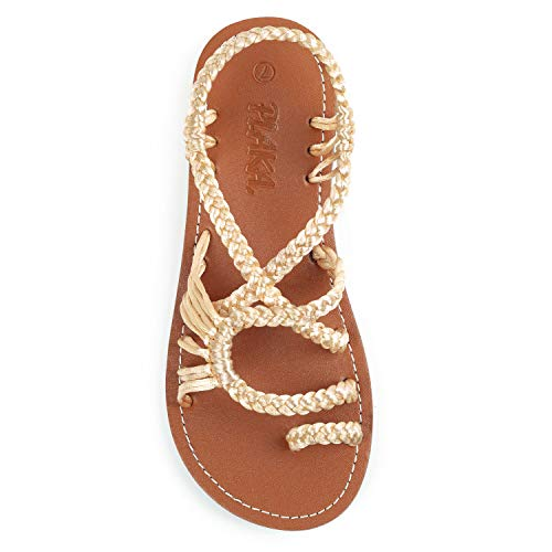 Plaka Flat Summer Sandals for Women Golden Mount Size 9 Palm Leaf