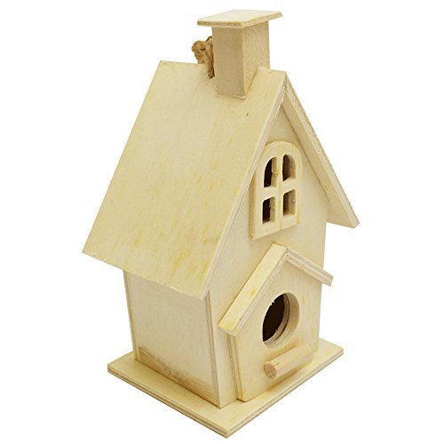 Lara's Crafts Bird House, Zinnia, Unfinished with Jute Hanger, 3.3