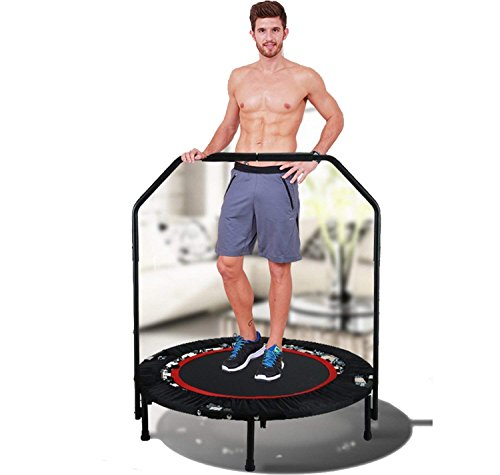 "40"" Exercise Trampoline with Handrails,Foladable Mini Trampoline Rebounder for Adult Kids Outdoor Home Gvm Fitness Workout Cardio Training (Adjustable Legs,Max. Load 300lbs) Review"
