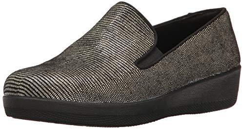 FitFlop Women's Superskate Lizard-Print Suede Loafers Flat, Black, 7 M US