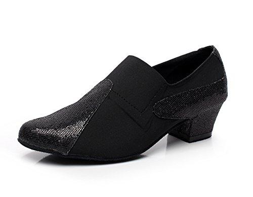 Minitoo QJ708 Womens Slip On Suede Modern Salsa Tango Ballroom Latin Dance Shoes Black qpnJYckIY