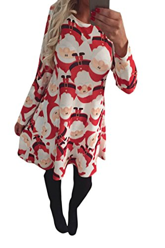 Pink Queen Womens Christmas Xmas Print Flared A Line Long Sleeve Pullover Dress