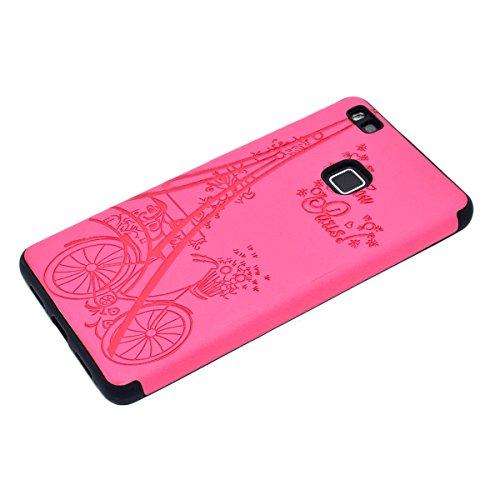 inShang Huawei P9 Lite,Ascend P9 Lite case Funda y Carcasa para Huawei P9 Lite case Huawei P9 Lite móvil, Ultra delgado y ligero Material de TPU, carcasa posterior (Back case) con , Rose tower