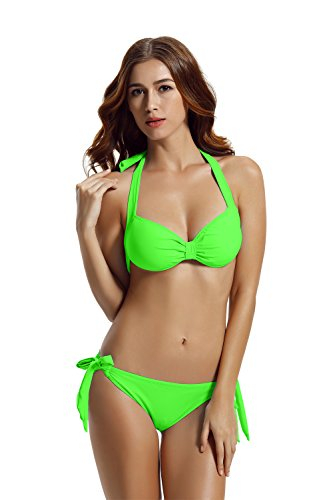 zeraca Women's Tie Side Bottom Halter Bandeau Bikini Bathing Suits (XL18, Cabana Green)