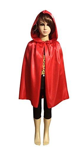 Zhong Min Kids Silk Costume Hooded Cape Masquerade Cloak,Red L for $<!--$7.99-->