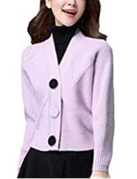 MFrannie Women V Neck Loose Sleeve Button Down Wool Sweater Cardigan