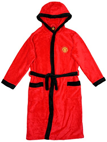 Manchester United FC Official Football Boys Hooded Fleece Dressing Gown Robe