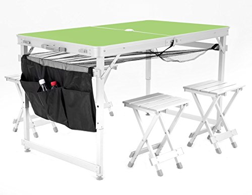 Sports God Aluminum Portable Folding Picnic Table w/ 4 Seats, Storage Net and Carrying Case (Green)