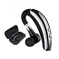 Bluetooth Headset,Lightweight Wireless Bluetooth Earpiece Business In Ear Earbuds with iPhone,Samsung,Android Cell Phones for Office/Workout/Driving (Grey+Case)