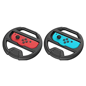 Joy-Con Wheel for Nintendo Switch,Controllers for Nintendo Switch (Set of 2) - Black and Black